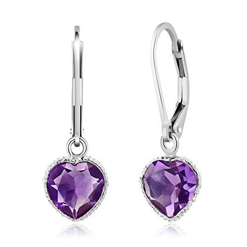 (Gem Stone King 925 Sterling Silver Amethyst Heart Shape 6.00 Ct Gemstone Birthstone Dangle Earrings 10X8MM )