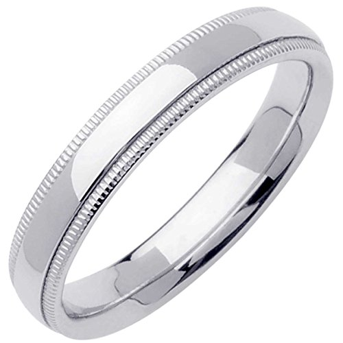 14K White Gold Traditional Milgrain Edge Women's Comfort Fit Wedding Band (4mm) Size-6.5c1