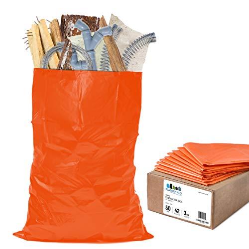"Plasticplace Contractor Trash Bags 42 Gallon - 3.0 Mil, Orange Heavy Duty Garbage Bag 33"" x 48"" (50 Count) -"