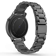 Gear S2 Classic Watch Band, MoKo Universal Stainless Steel Watch Band Strap Bracelet with spring pin for Samsung Gear S2 Classic SM-R732 & SM-R735 / Motorola Moto 360 2nd (Men's 42mm 2015), BLACK