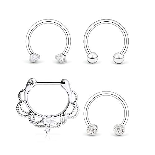 Ocptiy 4PCS 16G Surgical Steel Clear CZ Vintage Nose Hoop Septum Ring 10mm Horseshoe Ear Daith Tragus Clicker Rings Retainer Body Piercing Jewelry Silver