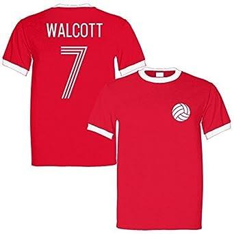 buy online 327ee 81c79 Theo Walcott 7 England Legend Ringer Retro T-Shirt Red/White ...