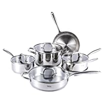 MICHELANGELO Premium Stainless Steel Cookware Set 10 Piece German Technology, Induction Pots And Pans Set, 18/10 Stainless Steel Saute Pan With Lid, Fry Pan, Saucepan With Lid, Stockpot With Lid