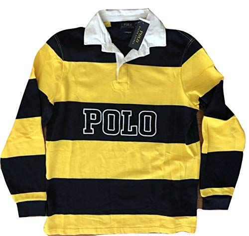 Polo Ralph Lauren Classic Fit Striped Long Sleeve Rugby Polo Shirt (X-Large, Yellow/Navy) ()