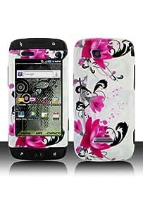 Samsung T839 T-Mobile Sidekick 4G Graphic Case - Red Flower on White (Free HandHelditems Sketch Universal Stylus Pen)
