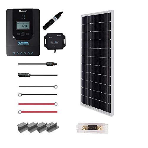Renogy 100 Watt 12 Volt Off Grid Solar Premium Kit with Monocrystalline Solar Panel and 20A MPPT Rover Controller