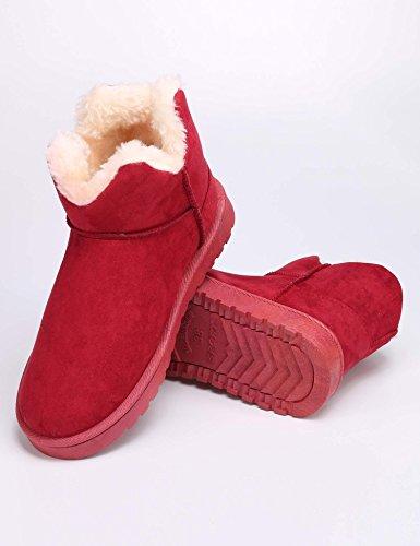 Eshion Mode Kvinnor Vintern Varm Solid Platta Hälen Fotled Snö Boot Fleecefodrad Vinröd