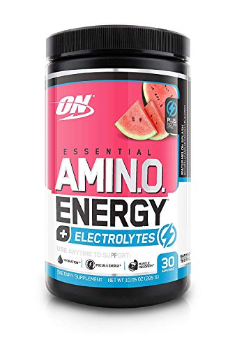 OPTIMUM NUTRITION ESSENTIAL AMINO ENERGY + Electrolytes, Watermelon Splash, Keto Friendly Preworkout and Essential Amino Acids, 30 Servings