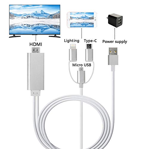 ZFKJERS 3 in 1 Lighting/Micro USB/Type-C to HDMI Cable, Mirror Mobile Phone Screen to TV/Projector/Monitor, 1080P HDTV Adapter for iOS and Android Devices(Silver)