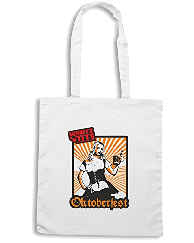 T-Shirtshock - Bolsa para la compra BEER0091 Oktoberfest Fraulein Blanco