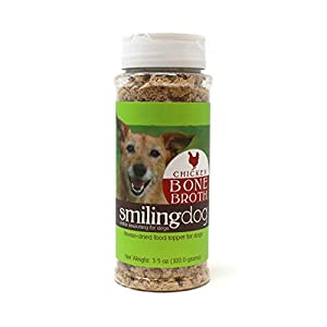 Herbsmith Chicken Bone Broth Kibble Seasoning - Freeze Dried Meat + Bone Broth Powder for Dogs - Healthy Dog Food Toppers