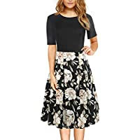 Women's Vintage Casual Round Neck Floral Tunic Work Party A-Line Swing Dress with Pockets 162
