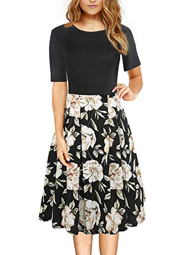 Floral Autumn Dresses for Women Vintage Half Sleeve O Neck Casual Cocktail Wear Work Dress with Pockets 162 (Black Khaki S)