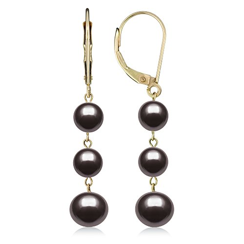 14k Yellow Gold Black Cultured Freshwater Pearl Trio Dangle Drop Earrings