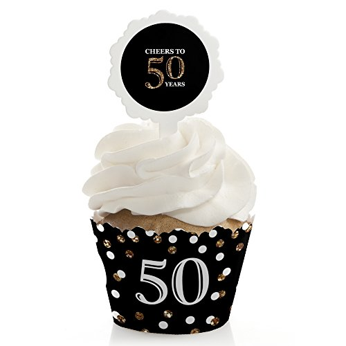 Adult 50th Birthday - Gold - Cupcake Wrapper & Pick Birthday Party Kit - Set of 24