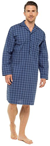 Sleepy Joes Nightwear Mens Lightweight Poplin 100% Cotton 1952 Nightshirt Blue/Navy Check ()