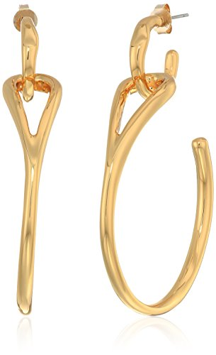 H Halston Sculptural Links Women's Open Hoop Drop Earrings, Shiny Gold, One Size