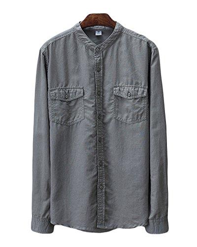 Icegrey Camicia Uomo con Collo Coreana Camicie di Lino a Maniche Lunghe Colore Solido Camicie da Spiaggia Grigio 48