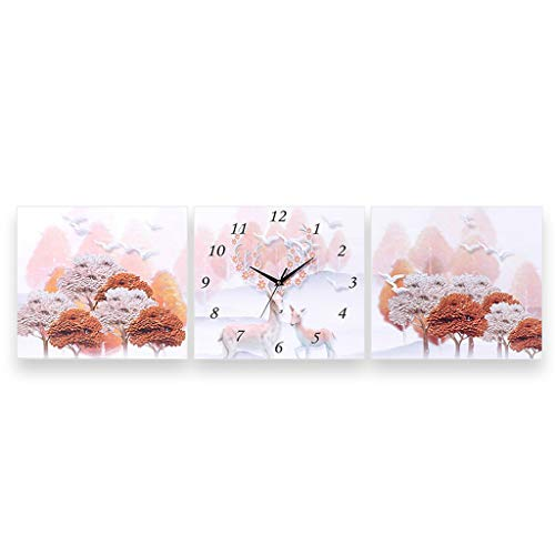 Beauty Brand Wall Clock Silent Square Battery Operated Living Room Decoration Wall Clock Bedroom Restaurant Elk Hanging Painting (Color : Maple Elk, Size : ()