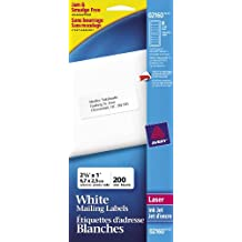 """Avery Mini-Sheets Address Labels for Laser and Inkjet Printers,  2-5/8"""" x 1"""", White, Rectangle, 200 Labels, Permanent (2160)"""