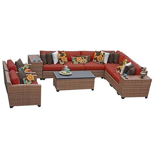 11 Piece Furniture (TK Classics 11 Piece Laguna Outdoor Wicker Patio Furniture Set, Terracotta 11d)