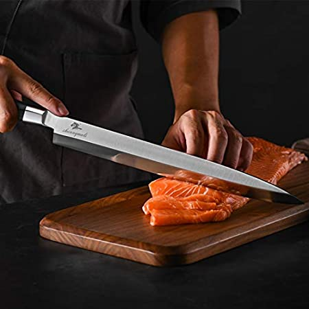 Cuchillo de fileteado de 12 pulgadas de salmón de chef 5CR15MOV Sushi de acero inoxidable Sushi Cuchillos de fileteado japonés Silling Sashimi Cuchillo Cuchillo Conjunto de cuchillos de cocina Conjunt