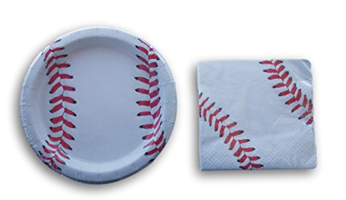 Baseball Party Supply Kit - Beverage Napkins and Dessert Plates -