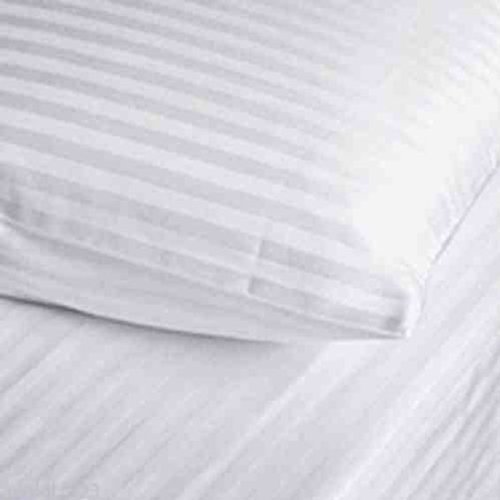 AR's T250 100% Cotton Satin Stripe Pair of Housewife Pillow Cases Color White by A&R by A&R