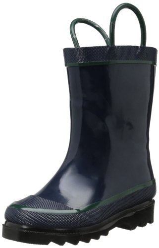 Western Chief Kids Waterproof Rubber Classic Rain Boot with Pull Handles, Navy, 6 M US Toddler -