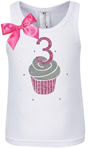 Price comparison product image Bubblegum Divas Little Girls' 3rd Birthday Cupcake Tank, 3T, White