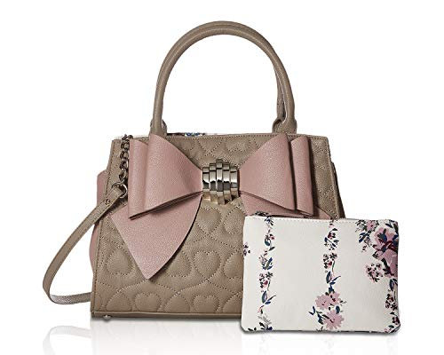Betsey Johnson Women's Bow Satchel Stone/Blush One Size - Johnson Evening Betsey