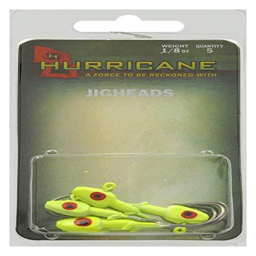 Hurricane Saltwater Jig Head, 1/8-Ounce, Chartreuse ()