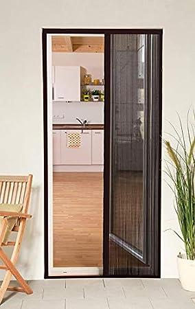 Mosquitera corredera puerta smart plegable aluminio 125 x 220 cm marrón recortable compatible puerta ventana: Amazon ...
