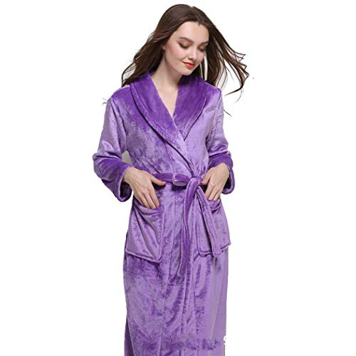 Pijama Moda Otoño color S Gjfeng Franela Engrosamiento Tamaño Solapa Púrpura Pareja Cálido Invierno Albornoces Largo Púrpura E Larga Luz nnFvTw