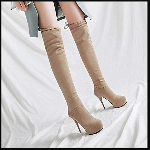 Stiletto Platform Beige High Taoffen Boots Pull On Thigh Women qP0xtOg0