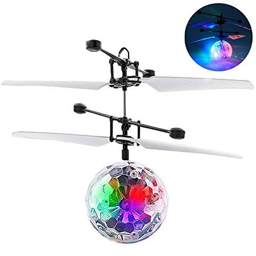 フライングボール Flying Ball ボール型 ヘリ フライングトイおもしろ おもちゃ 手の平で操作するボール型ヘリ 子どもオモチャプレゼント RCおもちゃRC赤外線誘導 パーソナリティセンサーバラエティLEDライトボール- (カラフル)