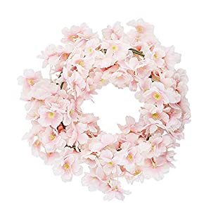 CEWOR 4pcs Artificial Cherry Blossom Flower Vines Hanging Silk Flowers Garland for Wedding Party Home Decor (Pink, Pack of 4) 4