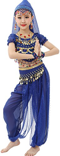 Astage Girls Short Sleeve Dancewear Gift Costume All Accessories Dark Blue L(52.5in-56) (Dark Dance Costumes)