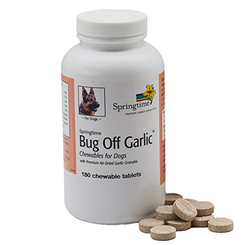 Springtime Bug Off Garlic Chewables for Dogs - 180 ct. - Human-grade garlic granules in a chewable tablet, flavored with beef liver, for a 24-hour shield against fleas, ticks & other biting (Garlic Tablets Dogs)