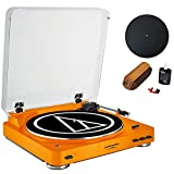 Audio-Technica Fully Automatic Bluetooth Stereo Turntable System LE Orange (AT-LP60ORBT) + Universal 12'' Silicone Rubber Turntable Platter Mat & Vinyl Record Cleaning Fluid System with Dust Brush