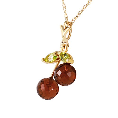 1.45 Carat 14k Solid Gold Cherry Pie Garnet Peridot Pendant Necklace
