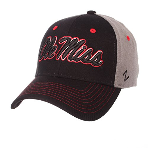 Zephyr NCAA Mississippi Old Miss Rebels Men's Duo Hat, X-Large, Black/Gray