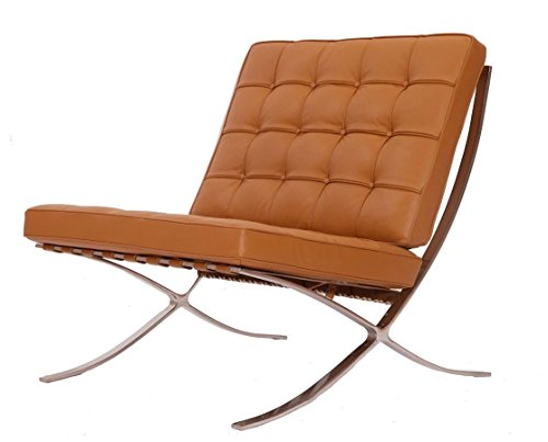 eMod - Modern Pavilion Barcelona Chair Italian Leather Terracotta (Light Brown)