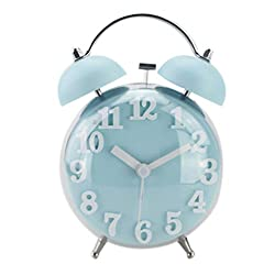 """JHion 4"""" Twin Bell Alarm Clock with Stereoscopic Dial,Backlight,Battery Operated,Round Alarm Clock Blue"""