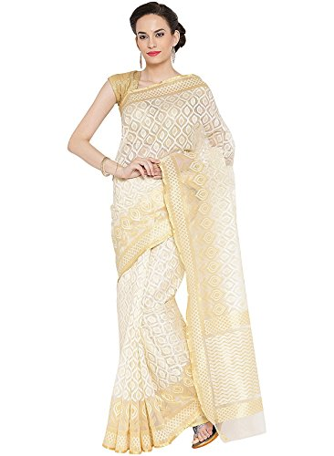 IndusDiva Women's Off White Georgette Banarasi Saree - Banarasi Georgette