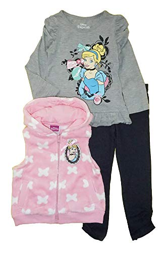 Disney Princess Baby Girls' Infant 3 Piece Cinderella Legging Set, Pink/Gray, 24M -