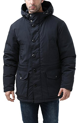 BGSD Men's Tommy Hooded Waterproof Down Parka Coat - M Navy