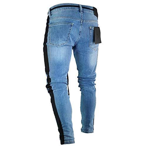 Del Uomo Blue11 Zipper Ginocchio Cerniera Piedi Jeans Mens Da Slim Skinny Purebesi Scoppio Dark Tendenza Buco Piccoli Sqf8CI
