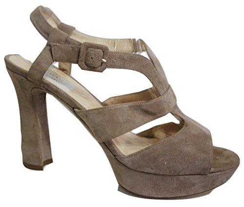 Unisa quot;Alentina morbido beige tortora tutti in pelle scamosciata tacco multi strap Sandal shoe