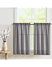 Privacy Thick Tiers Kitchen Curtains Rod Pocket Cafe Curtains Casual Weave Textured Half Window Curtains